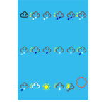 Vector image of weather forecast color symbols