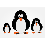 Penguin family clip art in color