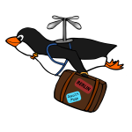 Penguin flying with a suitcase illustration