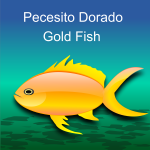 Vector clip art of glossy gold fish on green background