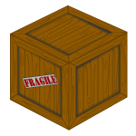 3D vector drawing of a wooden crate with fragile load