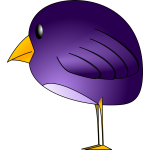 Little round purple bird standing vector graphics