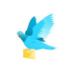 Drawing of a flying pigeon delivering a message