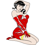 Pin-up girl in a red dress