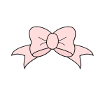 Vector image of pink ribbon tied into a bow