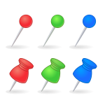 Three pins and vector image