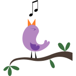 Happy tweeting purple bird vector graphics
