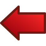 Red arrow pointing left vector drawing
