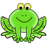 Green Valentine frog vector graphics