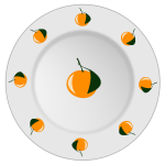 Vector image of orange pattern plate