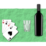 Vector illustration of four playing cards, a glass and bottle of wine