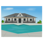 Poolside villa vector illustration
