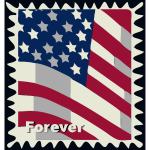 USA flag postal stamp vector illustration