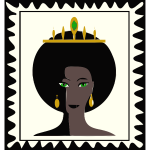 Vector graphics of stamp with queen