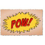 Vintage comic POW sound effect on brown background