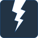 Vector image of lightning bolt on dark background
