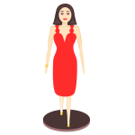 Vector illustration of lady in dress