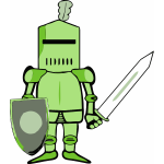 Vector graphics of ancient fighter with shield and sword
