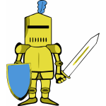 Vector drawing of classic knight in golden armor