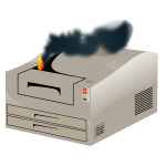 Vector image of laser printer on fire