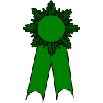 Vector image of medal with a green ribbon