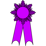 Vector graphics of gold medal with a purple ribbon