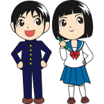 Boy and girl cartoon graphics