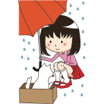Public Domain Girl with Umbrella and Cat