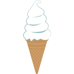 White ice cream in a cone