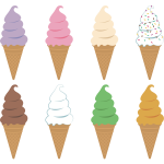 Ice creams with cones