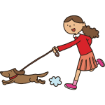 Girl with dog in leash
