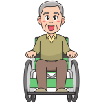 Grandfather on a wheelchair
