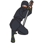 Ninja with a sword, attacking