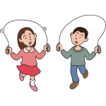 Boy and girl skipping rope