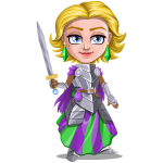 Woman knight warrior in armor, holding a sword - 2 - blonde
