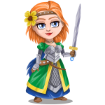 Woman knight warrior in armor, holding a sword - 3 - redhead