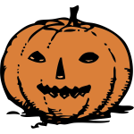 Pencil drawn Halloween pumpkin vector image