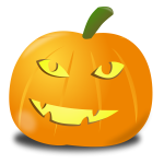 Orange happy pumpkin vector clip art