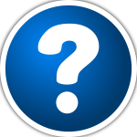 Vector clip art of white and blue icon with a question mark