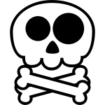 Vector drawing of simple skull with two bones below