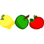 A yellow, green and red apple vector image