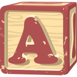 Letter A in a pink colored square vector image