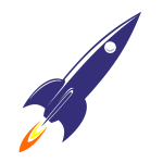 Retro 60s rocket at launch vector image