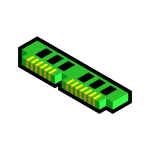 Vector illustration of blue 3D ram memory icon