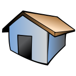 Vector drawing of house with brown roof