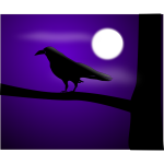 Raven at full moon vector illustration