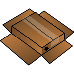 Vector clip art of cardboard box turned around