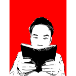 Japanese man reading