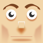 Vector image of square man face painting