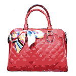red leather bag ribbon